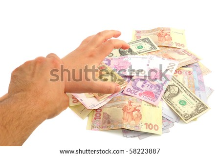 Hand stopped corruption on white - stock photo
