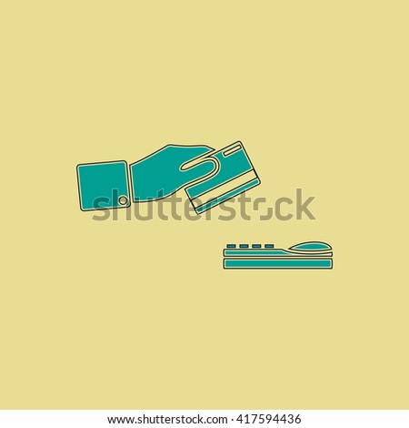 Hand swiping a credit card. Grren simple flat symbol with black stroke over yellow background - stock photo