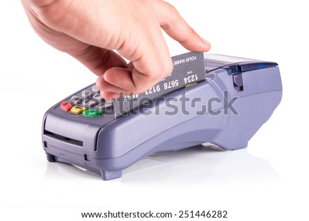 Hand Swiping Generic Credit Card Isolated On White Background - stock photo