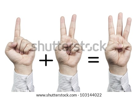 Hand symbol number 1+2=3, isolated on white background - stock photo