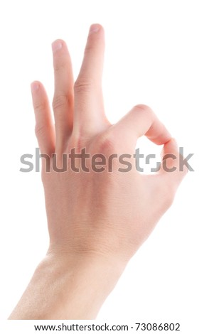 Hand symbol - OK isolated on white. okay
