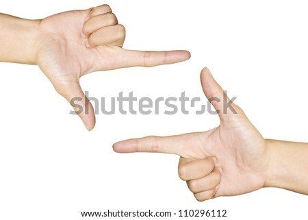 hand symbol that means frame on white background - stock photo