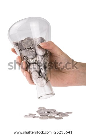 hand take hold of his pot of coins - stock photo