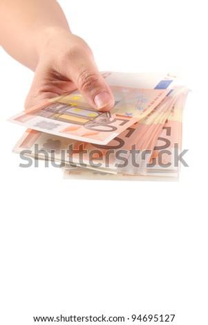 hand takes the euro money bill - stock photo