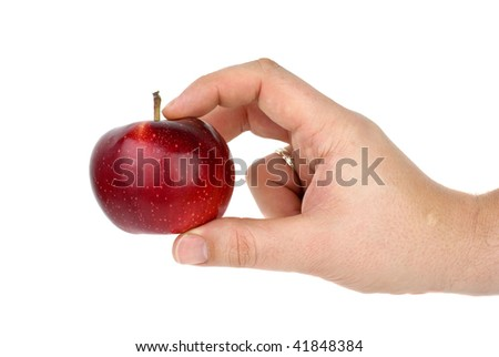 Hand taking red apple isolated on the white background