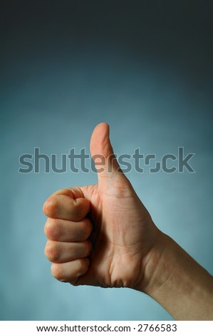 Hand Talk Series - Thumbs Up - stock photo