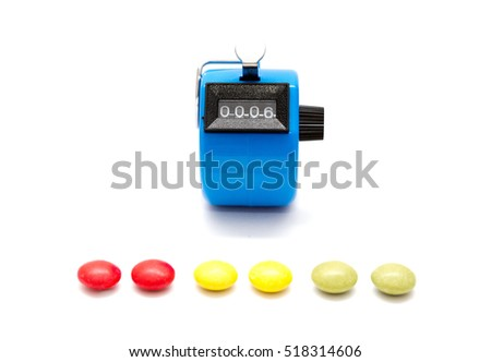 hand tally with colorful candies