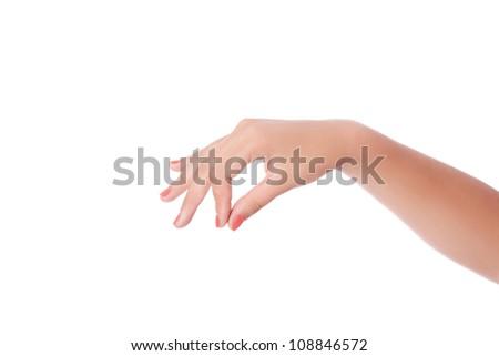 hand that pulls the strings. Studio shot - stock photo