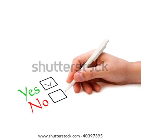 "Hand ticking ""Yes"" in the check box - stock photo"