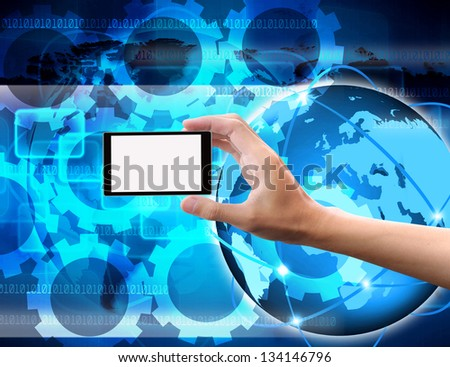 Hand to hold card, mobile phone, tablet PC on  abstract the world Technology - stock photo