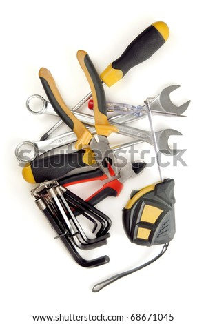 Hand tools isolated on a white