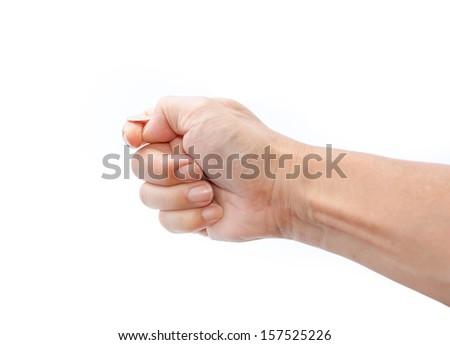 hand tossing a coin isolated on white - stock photo