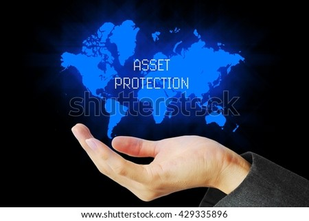 hand touch asset protection technology background