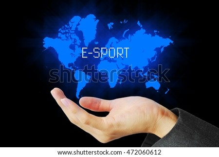 hand touch e-sport technology background