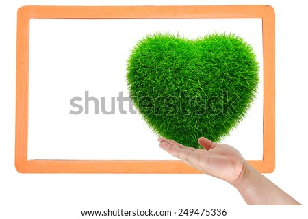 hand touch frame grass heart