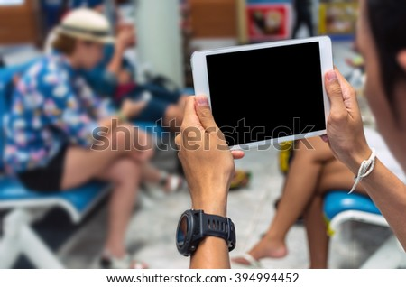 Hand touch on the screen of mobile phone, Shopping Online With smart mobile, technology and internet concept