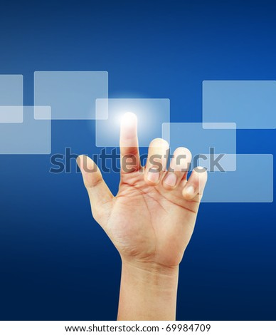 hand Touch screen - stock photo