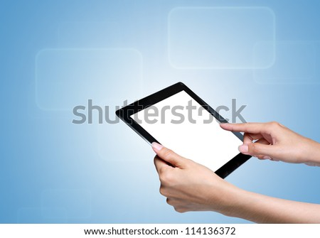 hand touch screen on tablet pc. with icons over blue background. - stock photo