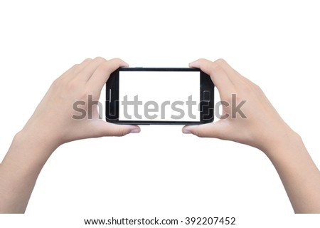 Hand touch smart phone on white background - stock photo