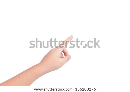 hand touch the virtual screen isolated on white background - stock photo