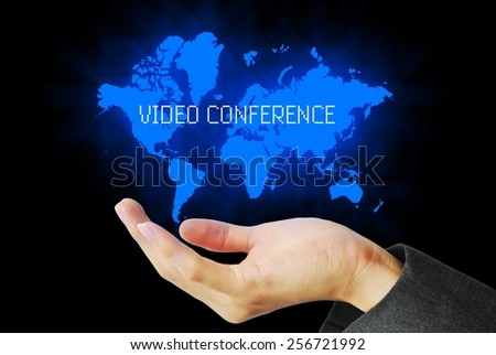hand touch video conference technology background  - stock photo