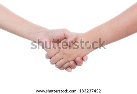Hand touches hand isolated on white background