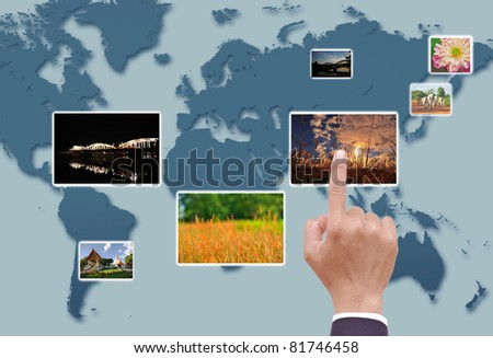 Hand touches the flow of image - stock photo