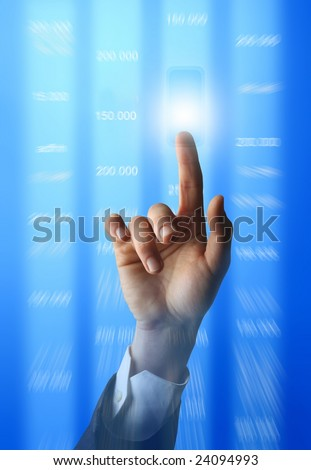 Hand touching a solutions button on a futuristic computer interface - stock photo