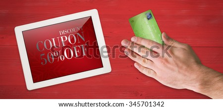 Hand touching against sale advertisement - stock photo