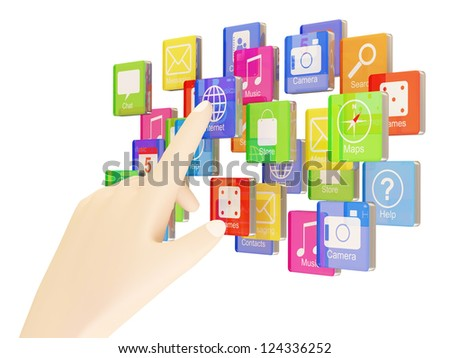 Hand Touching Cloud of Application Icons isolated on white background - stock photo