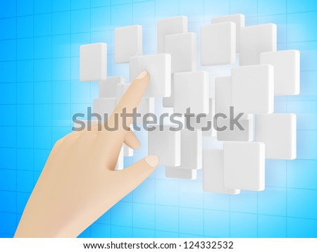 Hand Touching Cloud of Blank Screen Interface on blue background - stock photo