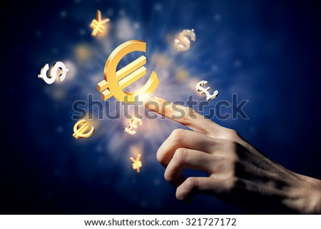 Hand touching money currency symbol with finger