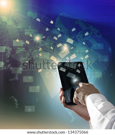 hand touching on computer tablet sending message to cyber use for modern business and city life style - stock photo