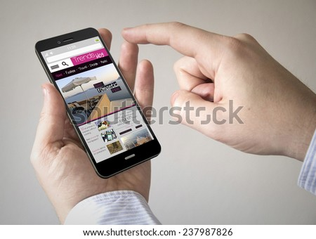 hand touching screen on modern mobile smart phone with trends blog on the screen - stock photo