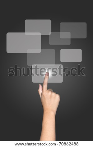 Hand touching text box on screen - stock photo