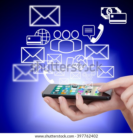 hand touching touch smart phone, social media concept - stock photo