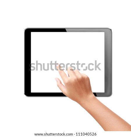 hand touching virtual screen a tablet with isolated screen + Clipping Path - stock photo