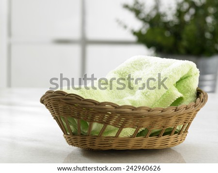 hand towel in the basket - stock photo