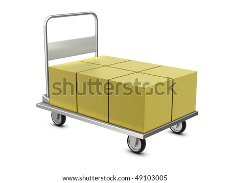 Hand trolley with boxes isolated on white background