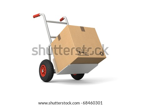 Hand truck with a box. Isolated on white background. Computer generated image. - stock photo