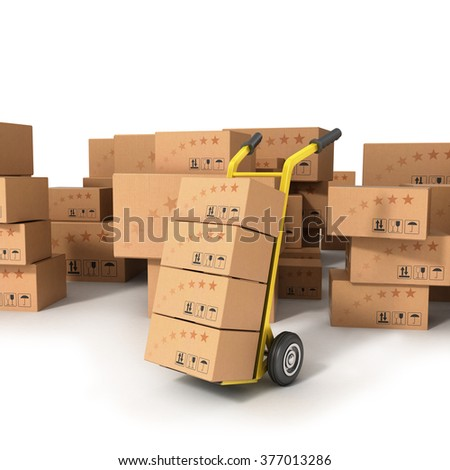 Hand truck with boxes standing on the background of boxes of different sizes - stock photo