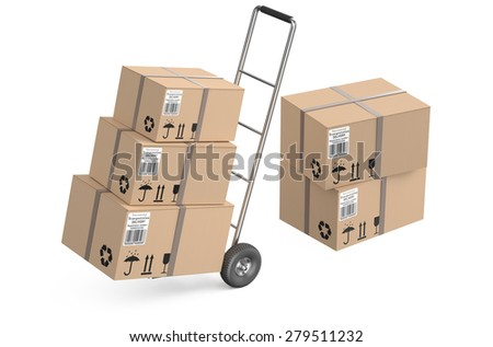 Hand truck with cardboard boxes isolated on white background - stock photo