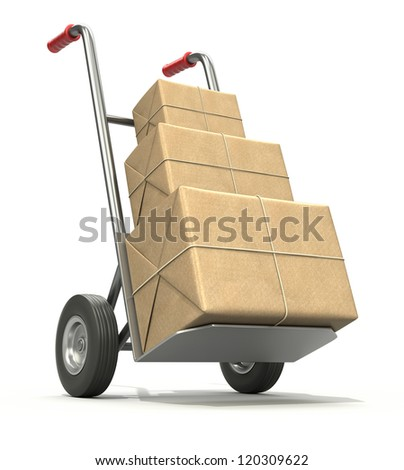 Hand truck with three post packages - stock photo