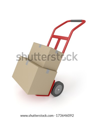 Hand truck with two cardboard boxes - stock photo
