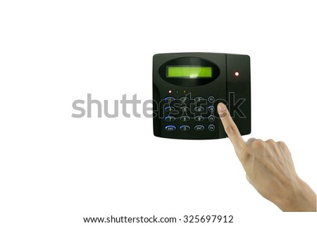 Hand trying to push on security keypad door key lock. This has clipping path - stock photo