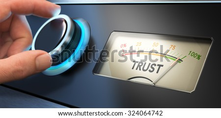 Hand turning a knob up to the maximum, Concept image for illustration of trust in business. - stock photo