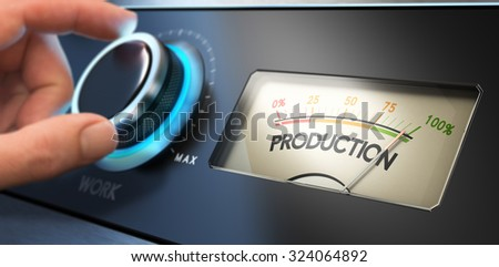Hand turning the productivity knob up to the maximum, Concept image for productivity improvement in business or improving efficiency. - stock photo
