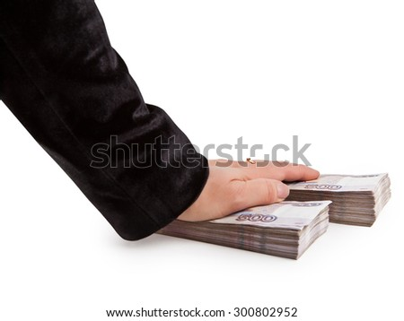 Hand two bundles of Russian paper money - stock photo