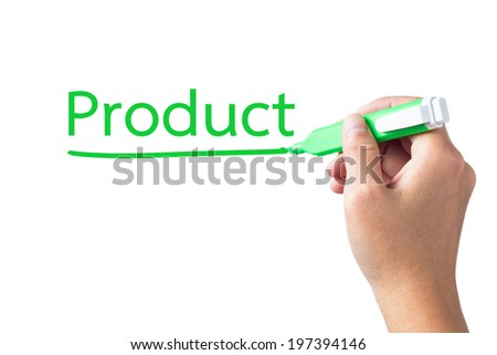 Hand underline Product word on white background - stock photo