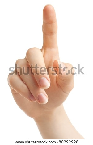 Hand up with pointing or pushing finger. - stock photo